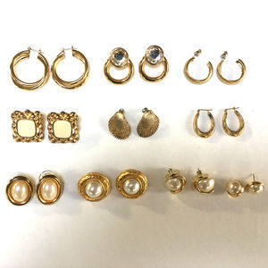 10 Pairs Pierced Earrings Bundle Gold Hoops Pearl